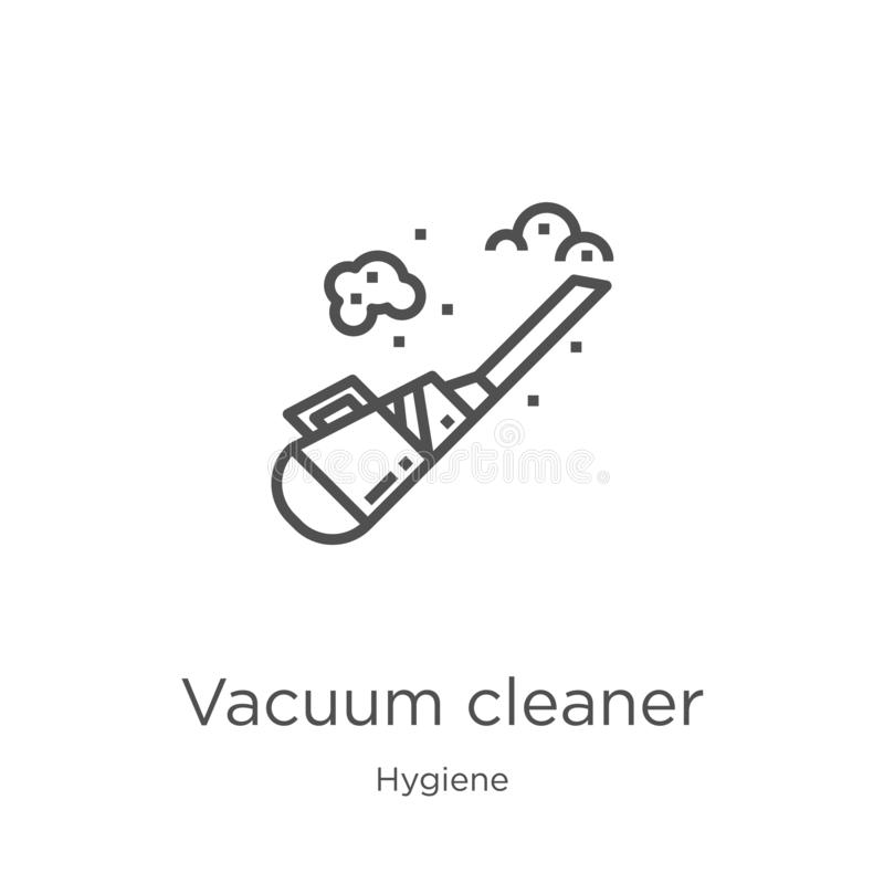 vacuum cleaner icon vector from hygiene collection. Thin line vacuum cleaner outline icon vector illustration. Outline, thin line royalty free illustration