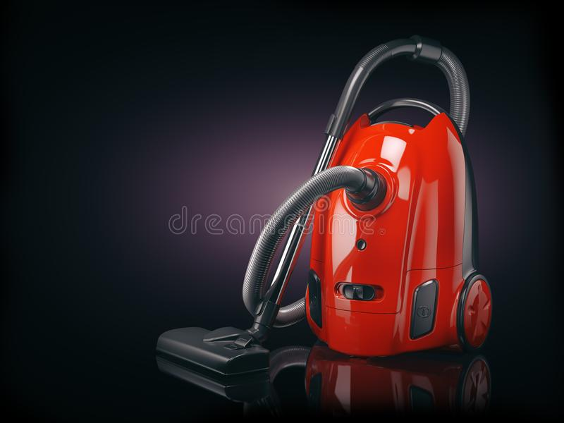 Vacuum cleaner isolated on black background. stock illustration