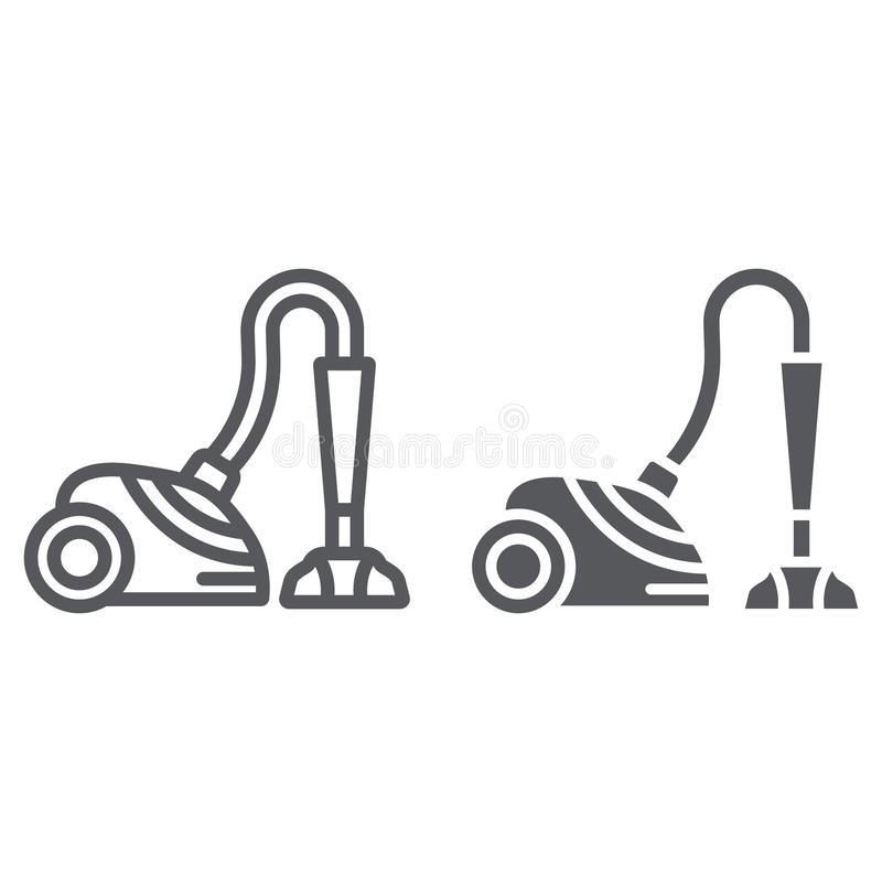 Vacuum cleaner line and glyph icon, appliance and home, hoover sign, vector graphics, a linear pattern on a white. Background, eps 10 vector illustration
