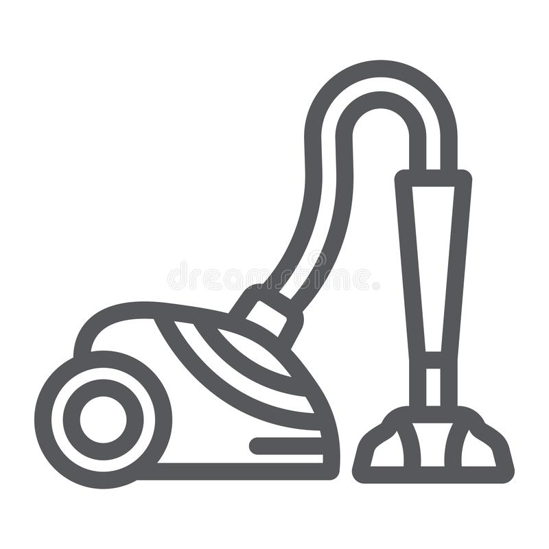 Vacuum cleaner line icon, appliance and home, hoover sign, vector graphics, a linear pattern on a white background. Vacuum cleaner line icon, appliance and home royalty free illustration