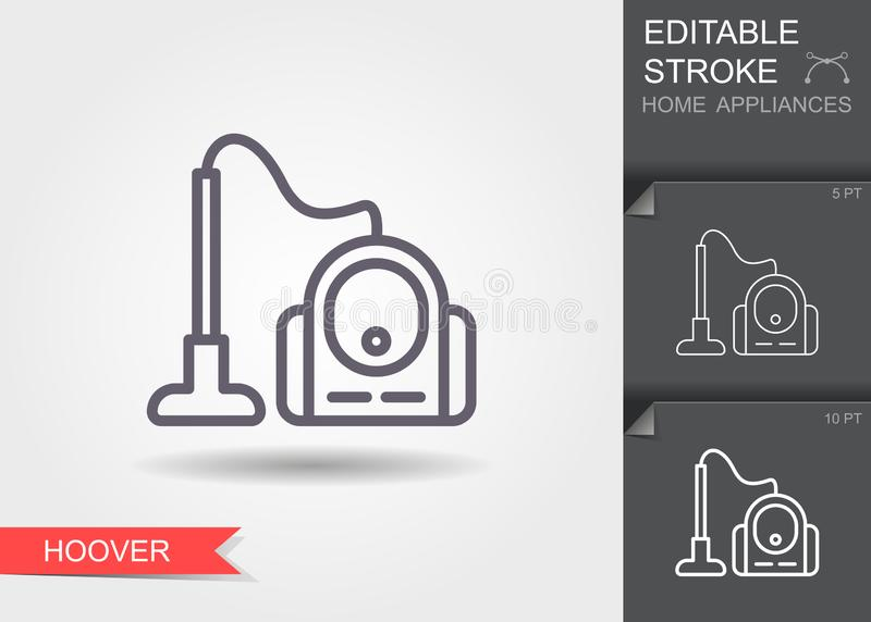 Vacuum Cleaner. Line icon with editable stroke with shadow royalty free illustration