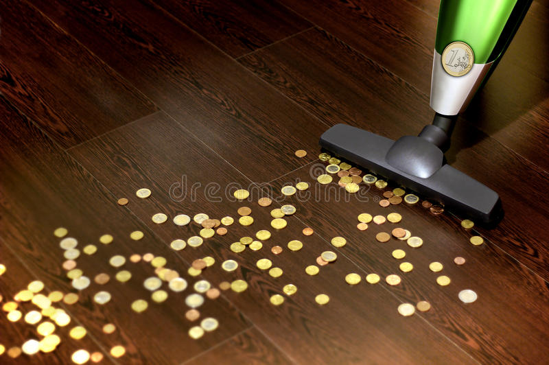 Vacuum cleaner with money royalty free stock photos