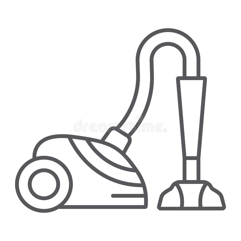 Vacuum cleaner thin line icon, appliance and home, hoover sign, vector graphics, a linear pattern on a white background. Vacuum cleaner thin line icon stock illustration