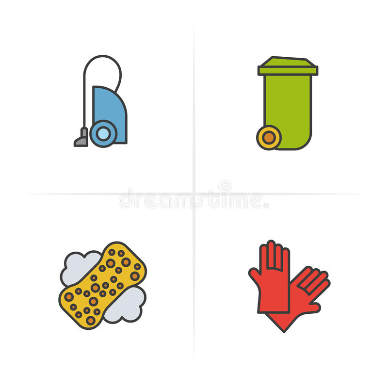 Vacuum cleaner, trash can, latex gloves. stock illustration