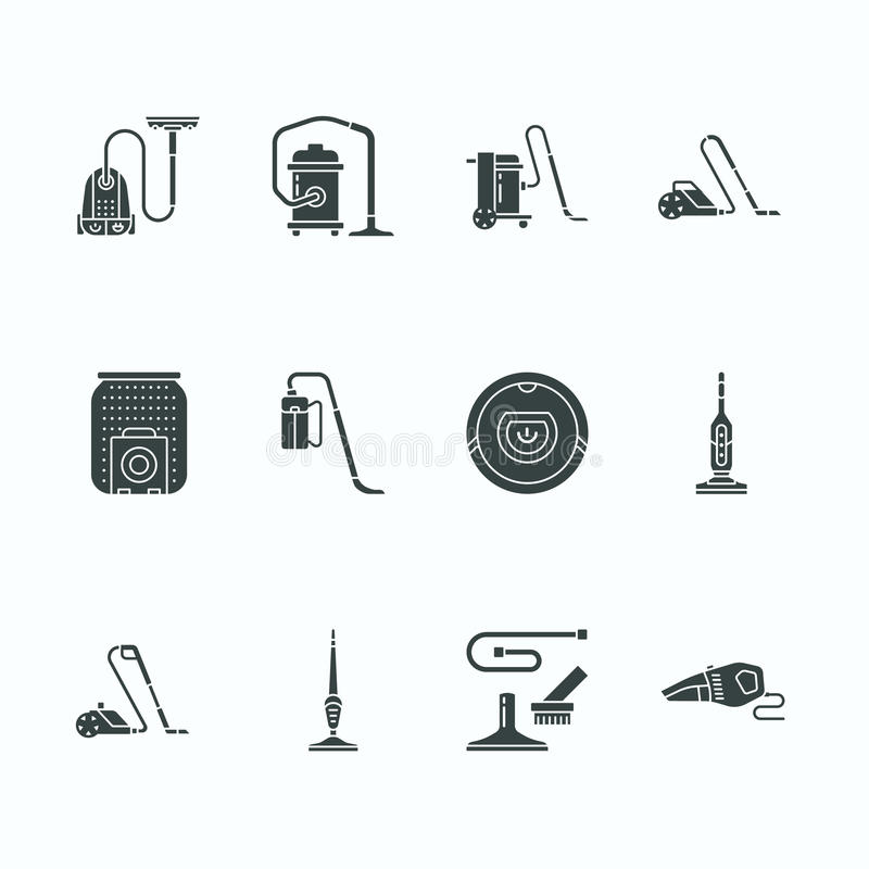 Vacuum cleaners flat glyph icons. Different vacuums types - industrial, household, handheld, robotic, canister, wet dry vector illustration