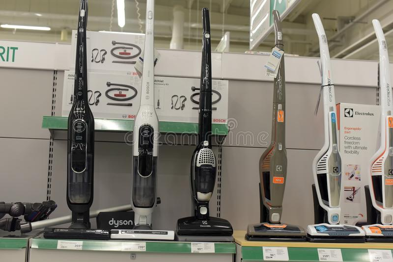 Vacuum cleaners on the shelf in the store royalty free stock photo