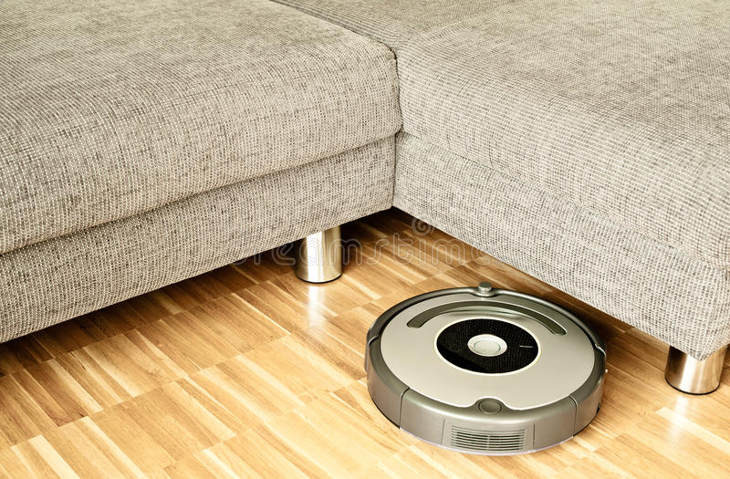 Vacuum cleaning robot royalty free stock photo