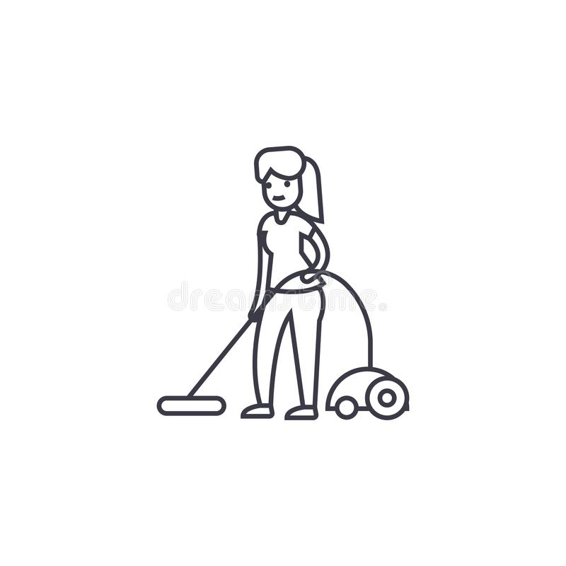 Vacuum cleaning vector line icon, sign, illustration on background, editable strokes. Vacuum cleaning vector line icon, sign, illustration on white background royalty free illustration