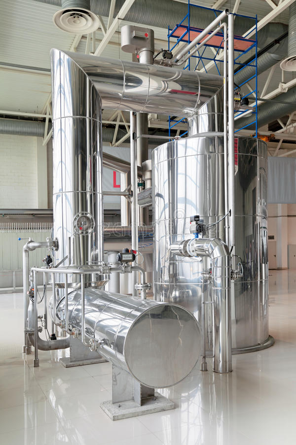 Vacuum-evaporator. Brewing production - brewhouse, vacuum-evaporator, the interior of the brewery, nobody stock images