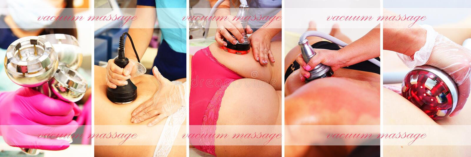 Vacuum massage. Hardware cosmetology. Body care. Non surgical body sculpting. anti-cellulite and anti-fat therapy in beauty salon. Large collage with different stock photos
