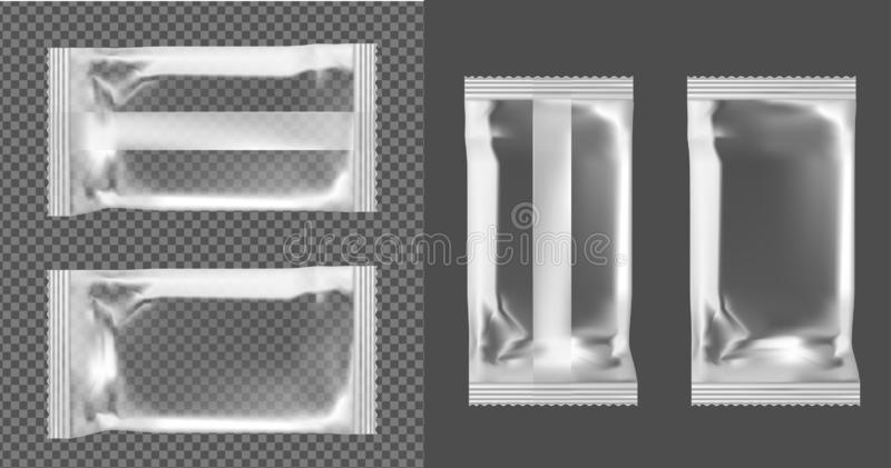 Vacuum packaging for snacks, food, chips, sugar and spices.  stock illustration