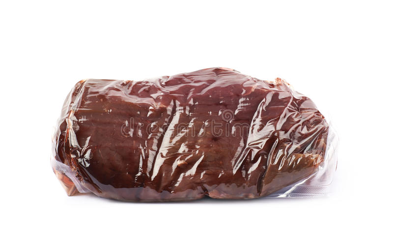Vacuum packed beef meat isolated stock images
