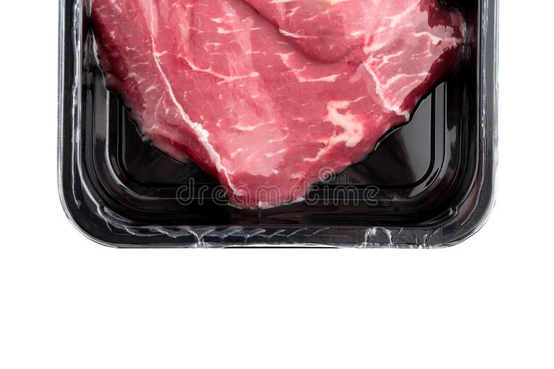 Vacuum-packed beef on a white background. Marbled beef from the store isolated on a white background stock images