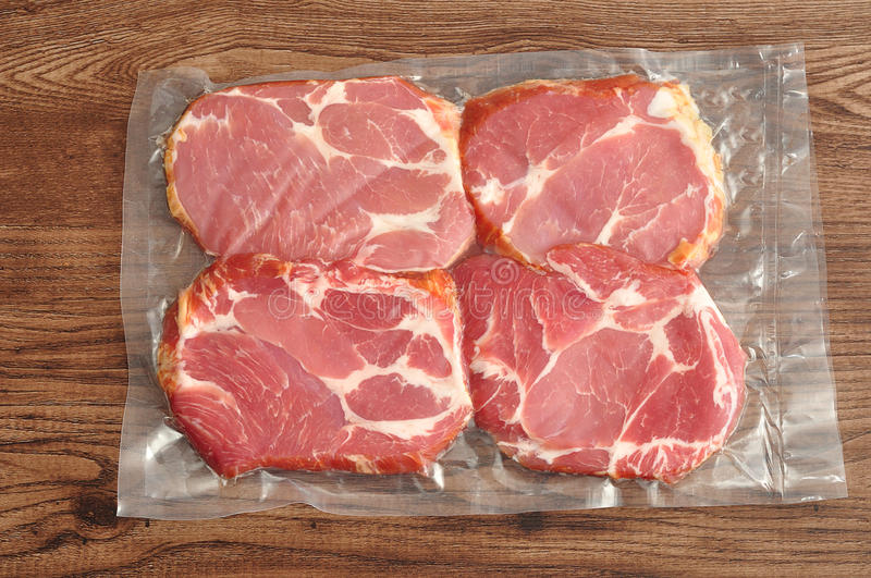 Vacuum packed meat stock photos