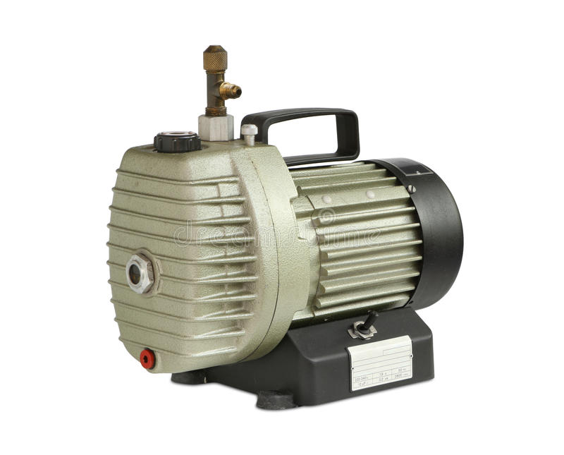 Vacuum pump. (oil-lubricate rotary vane) isolated on white background royalty free stock photography