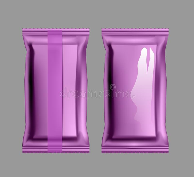 Vacuum purple packaging for snacks, food, chips, sugar and spices.  vector illustration