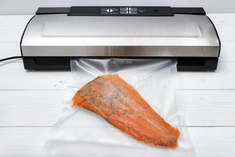 Vacuum sealed salmon stock photography