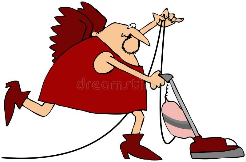 Vacuuming Cupid royalty free illustration