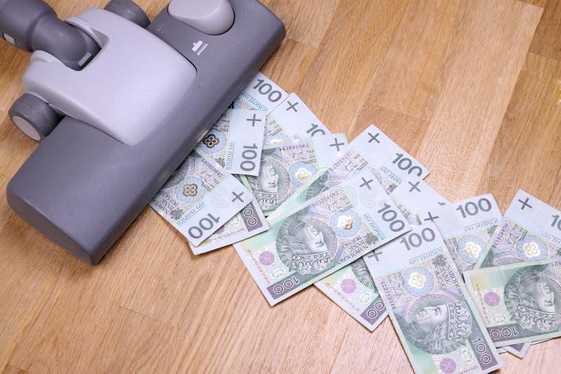 Vacuuming money stock photos