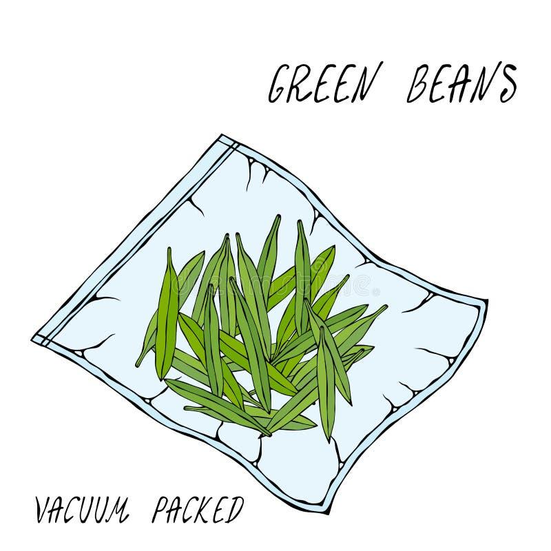 Vacuumizer jedzenia Sealer fasola świeże Dla jaroszy Co jest Sous-Vide Wolna Kulinarna technologia Naczelna kuchnia royalty ilustracja