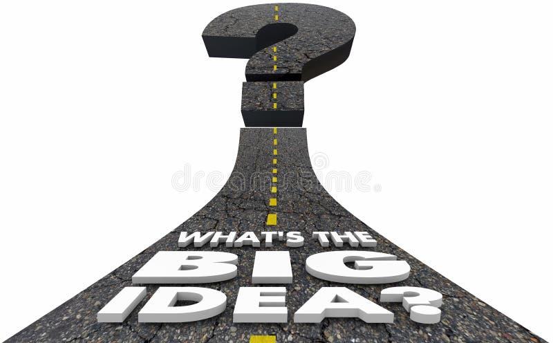 Vad är den stora idéfrågan Mark Road Plan Strategy 3d Illustrat vektor illustrationer