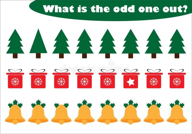 Vad är den udda ut för barn, jultemat i tecknad filmstil, den roliga utbildningsleken för ungar, förskole- arbetssedelaktivitet royaltyfri illustrationer
