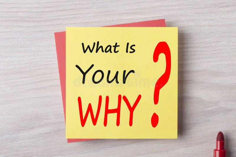 Vad är din därför skriftligt på anmärkningsbegrepp arkivbild