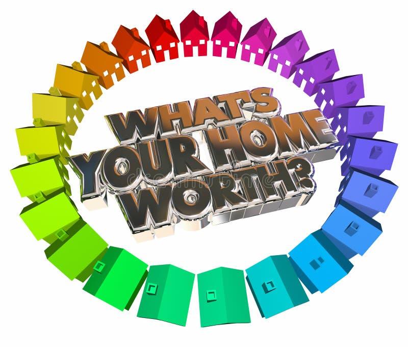 Vad är dina hem- värda ord för husvärdeReal Estate tillgång 3d royaltyfri illustrationer