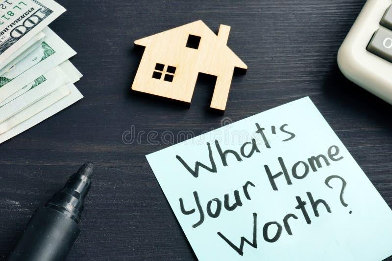 Vad är ditt hem- värde? Kostnad av egenskapen arkivbild