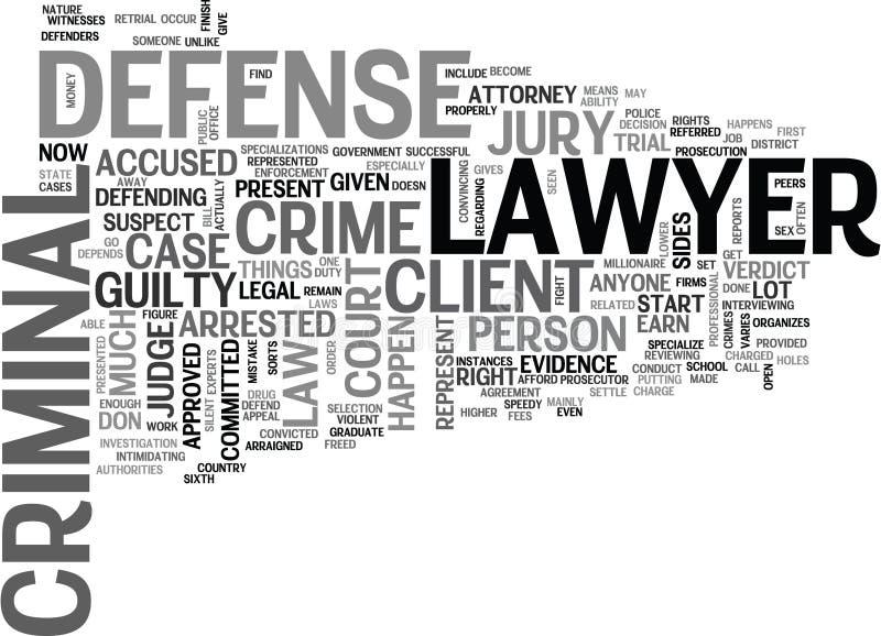 Vad är en brottslig försvarsadvokat Word Cloud royaltyfri illustrationer