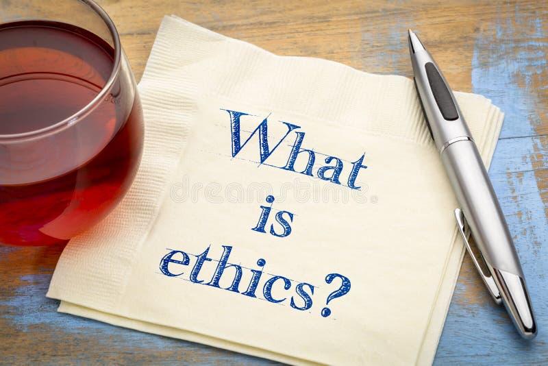 Vad är etik? En fråga på servett royaltyfri foto
