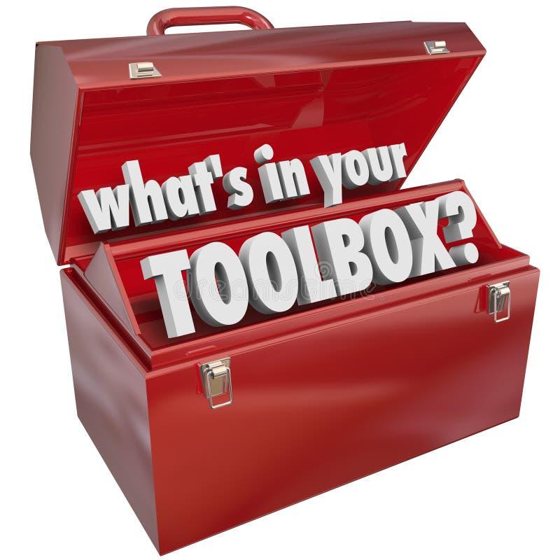 Vad är i din för metallhjälpmedlet för toolboxen röda erfarenhet för expertis för asken royaltyfri illustrationer