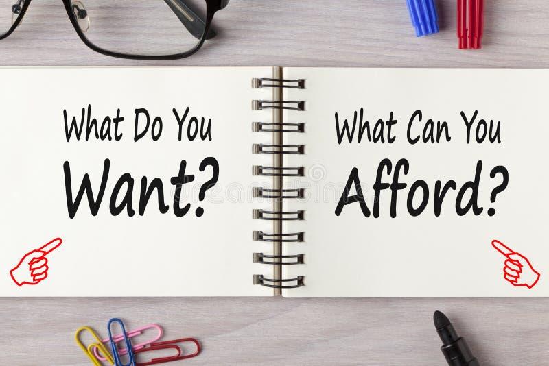 Vad gör, kan du att önska vs dig ha råd med begrepp royaltyfri bild