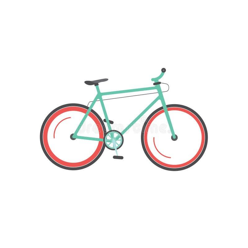 Vada in bicicletta l'illustrazione isolata, la bici che si muove, icona di vettore di sport della montagna del ciclo illustrazione di stock