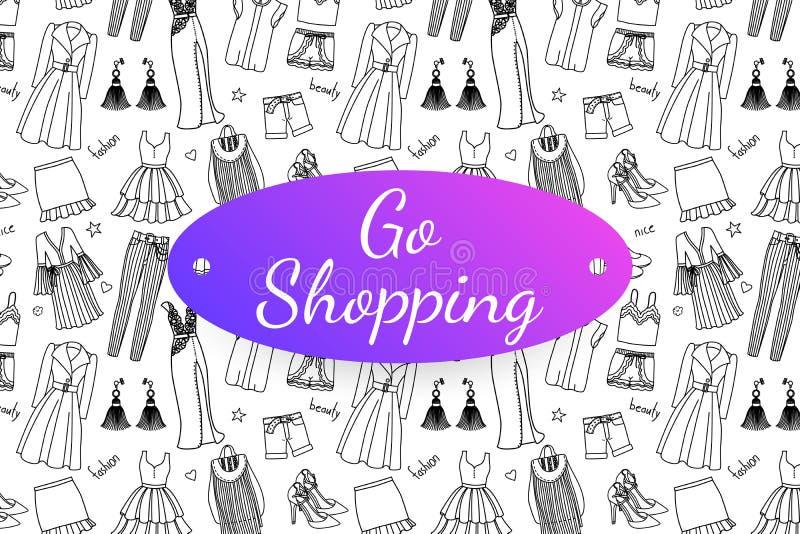 Vada a fare spese l'insegna con i vestiti e gli accessori disegnati a mano di modo royalty illustrazione gratis