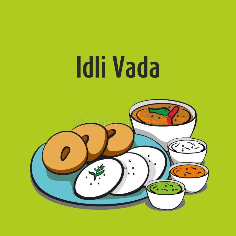 Vada Idli южная индийская иллюстрация вектора еды иллюстрация штока