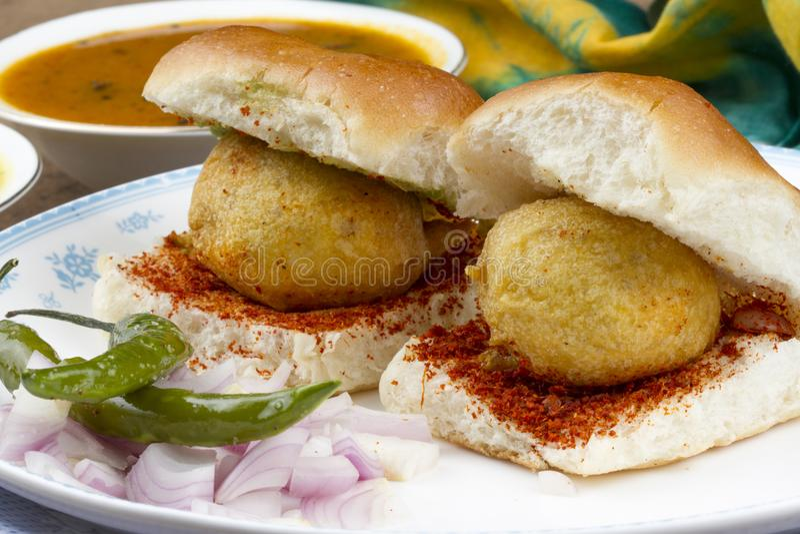 Vada Pav. Indian special traditional fried food vada pav stock photos
