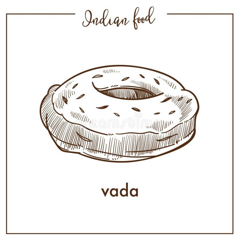 Vada redondo suave sabroso de la comida india tradicional Bocado frito sabroso en la forma de buñuelo ilustración del vector