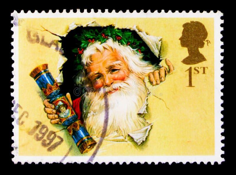 Vader Christmas met Traditionele Cracker Kerstmis 1997 - 150ste Verjaardag van Kerstmiscracker serie, circa 1997 royalty-vrije stock afbeeldingen
