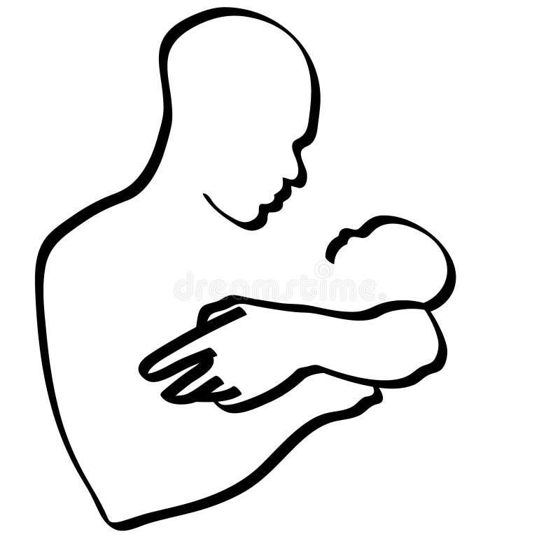 Vader die een babyillustratie dragen door crafteroks royalty-vrije illustratie
