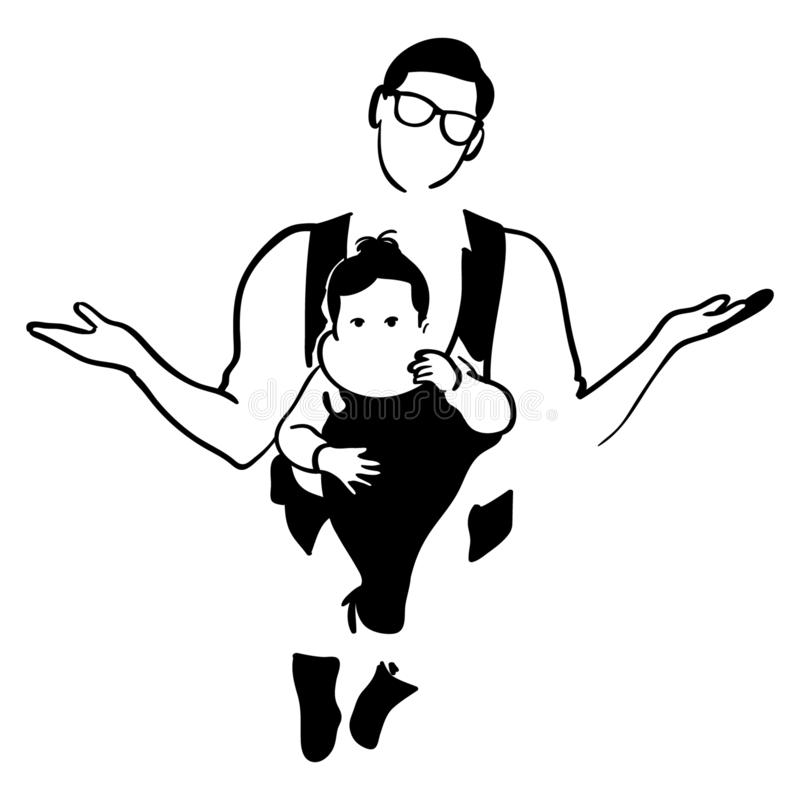 Vader die een babyillustratie dragen door crafteroks stock illustratie
