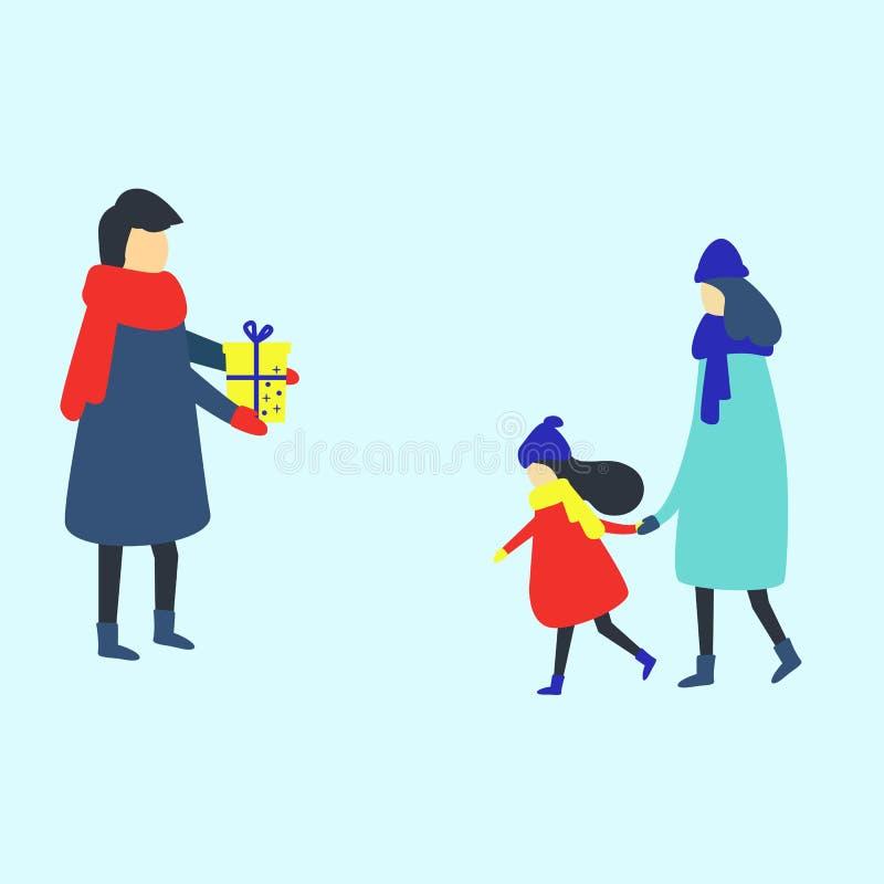 Vader die een giftdoos geven aan zijn kleine dochter, vectorillustratie stock illustratie