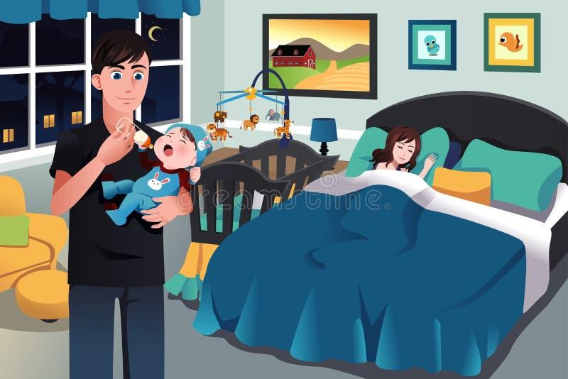 Vader die een pasgeboren baby houden stock illustratie