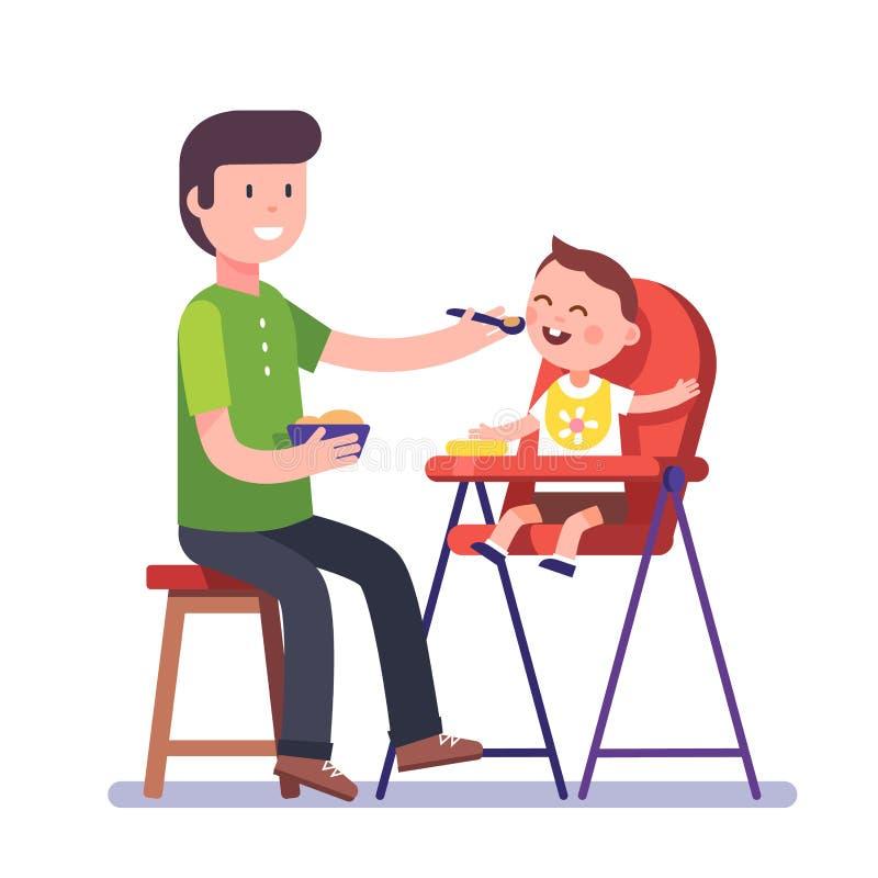 Vader die zijn babyzoon voeden vector illustratie