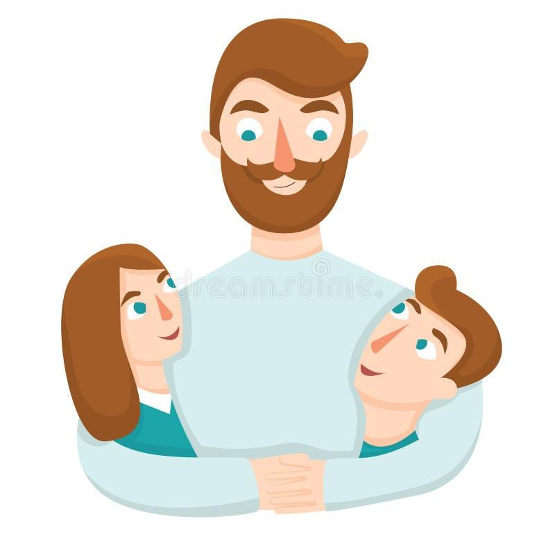 Vader die zijn dochter en zoon koesteren Vader en kinderen die elkaar bekijken vectorillustratie royalty-vrije illustratie