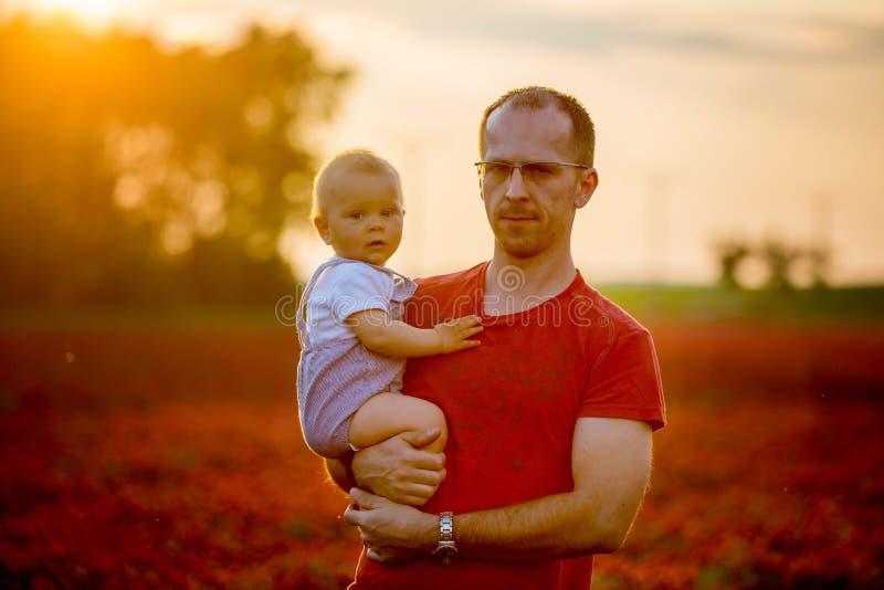 Vader, die zijn peuterzoon op karmozijnrode klavergebied houden op sunse royalty-vrije stock afbeelding