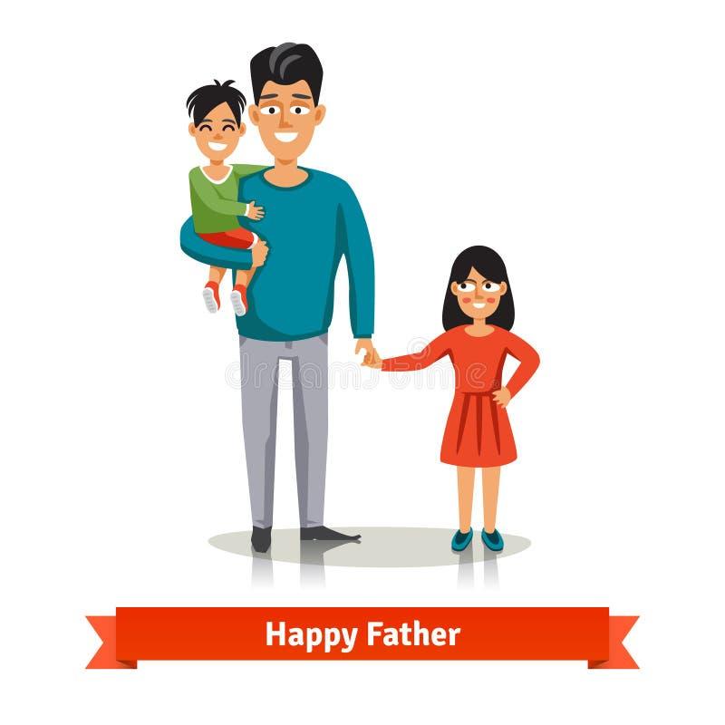 Vader die zijn zoon en van de dochter hand houden vector illustratie