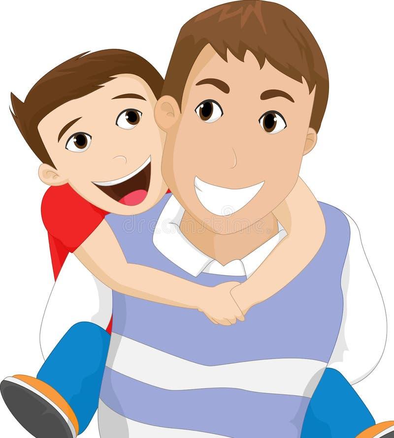 Vader die zijn zoon vervoert stock illustratie
