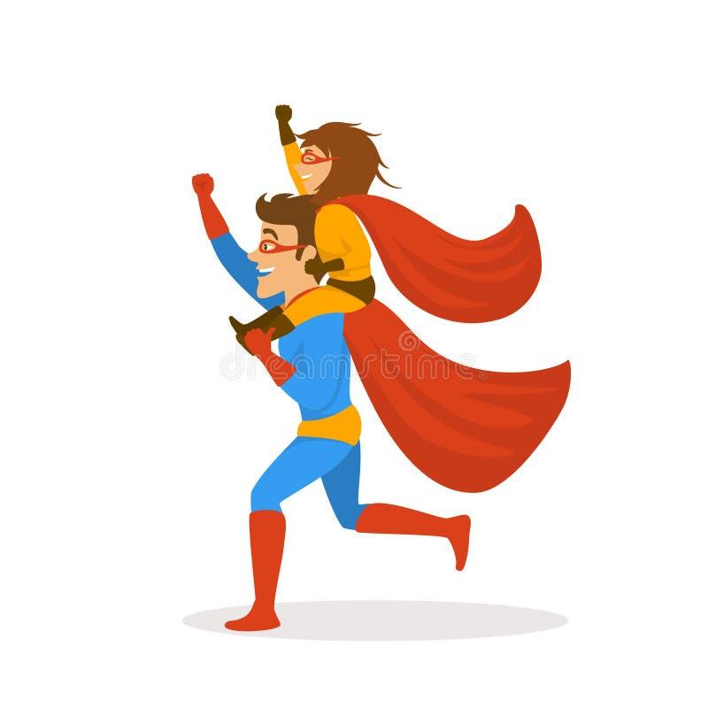 Vader en de dochter die superheroes kleedden zich in kostuums die, meisjeszitting op dads terug schouders, funnny vaders samen lo royalty-vrije illustratie