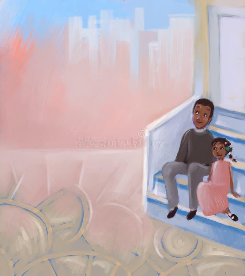 Vader en dochter royalty-vrije illustratie